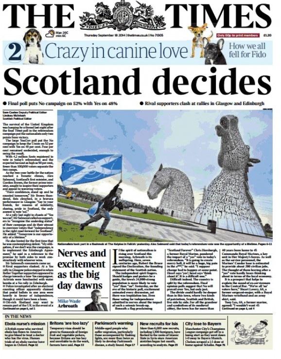 L'Ecosse indépendante ? Indépendance Ecosse, the Times