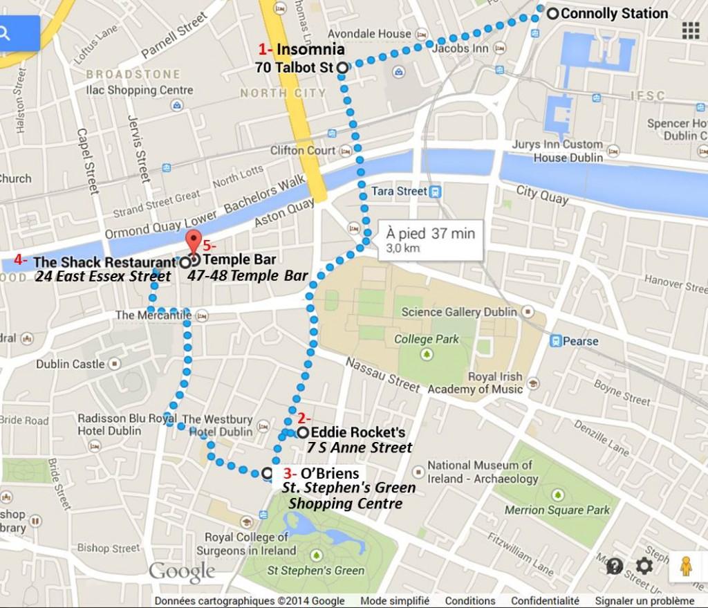 le parcours des restaurants à Dublin